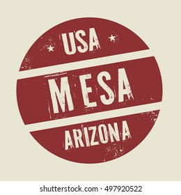 Grunge vintage round stamp with text Mesa, Arizona, vector illustration
