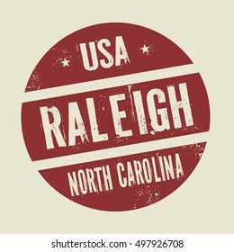 Grunge vintage round stamp with text Raleigh, North Carolina, vector illustration