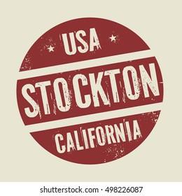 Grunge vintage round stamp with text Stockton, California, vector illustration