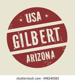 Grunge vintage round stamp with text Gilbert, Arizona, vector illustration