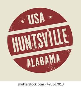 Grunge vintage round stamp with text Huntsville, Alabama, vector illustration