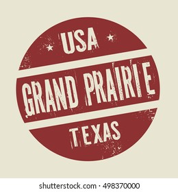 Grunge vintage round stamp with text Grand Prairie, Texas, vector illustration