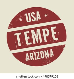 Grunge vintage round stamp with text Tempe, Arizona, vector illustration