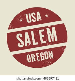 Grunge vintage round stamp with text Salem, Oregon, vector illustration