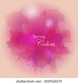 Grunge watercolor background with splashes, blots and splatters. Bright pink colors vector