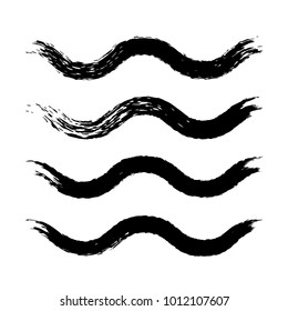 Grunge waves brush strokes. Set of black ink brushes. Collection of vector graphics elements for your design