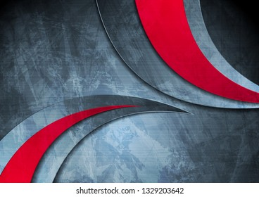 Grunge wavy corporate contrast red and blue texture background. Vector illustration