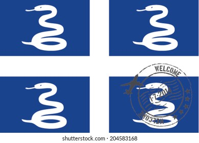Grunge welcome rubber stamp with date on the flag of Martinique