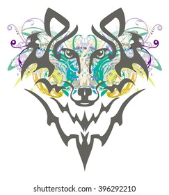 Grunge wolf head. Tribal wolf head with colorful floral elements splashes