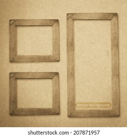 grunge wood frame vector background, vintage paper texture