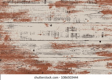 Grunge wood overlay horizontal texture. Vector illustration background in brown and beige, horizontal format. Natural rustic distressed backdrop.