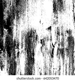 Grunge wood overlay texture. Vector illustration background in black over white, square format.