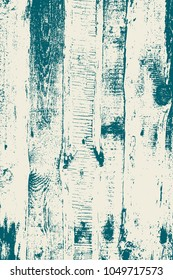 Grunge wood overlay vertical texture. Vector illustration background in white and teal blue. Natural rustic distressed backdrop.