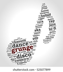 Grunge. Word cloud, musical notes, gradient gray background. Variety of music.