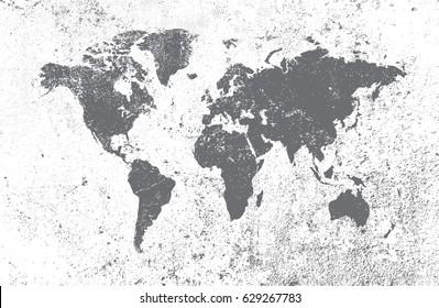 Grunge world map.