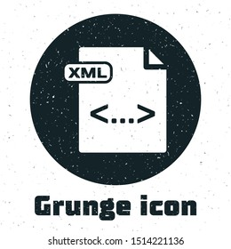 Grunge XML file document. Download xml button icon isolated on white background. XML file symbol.  Vector Illustration