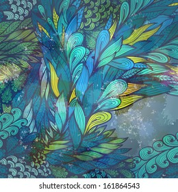Grunge yellow and blue greeting card with abstract flowing hand drawn feathers. Eps10