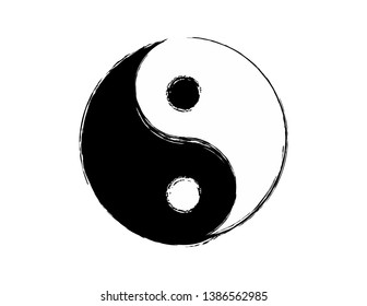Grunge Yin Yang Symbol Vector Design Element Ying Yang Print