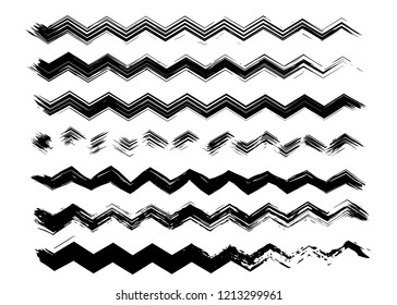 Grunge zigzag waves collection. Isolated, vector, dry brush paint strokes