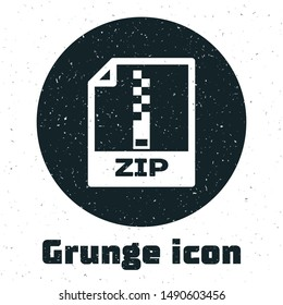 Grunge ZIP file document. Download zip button icon isolated on white background. ZIP file symbol.  Vector Illustration