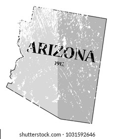 A grunged Arizona state outline with the date of statehood isolated on a white background
