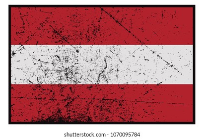 A grunged Austrian flag design isolated on white background
