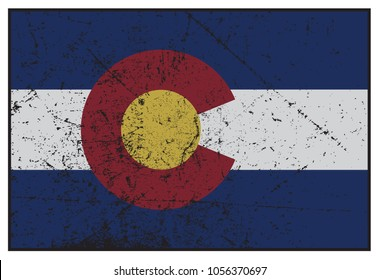 A grunged Colorado state flag isolated on a white background