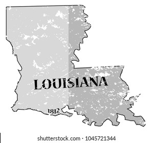 A grunged Louisiana state outline with the date of statehood isolated on a white background