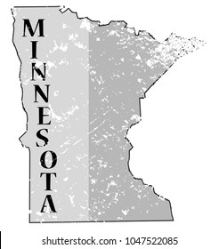 A grunged Minnesota state outline with the date of statehood isolated on a white background