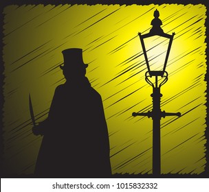 A grunged silhouette of jack the ripper with a knife in the light of a street lamp