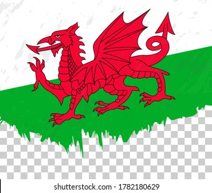Grunge-style flag of Wales on a transparent background. Vector textured flag of Wales for vertical design.