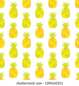 Grungy all-vector pineapple seamless pattern design with transparent background