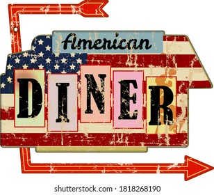 grungy american diner sign, retro grungy vector illustration