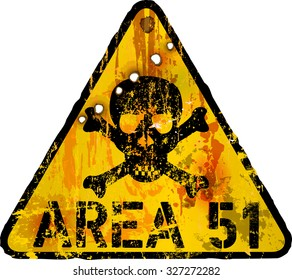 grungy area fifty one sign, vector, fictional artwork