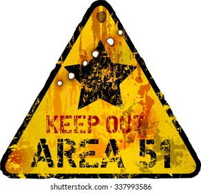 grungy area fifty one warning sign, fictional artwork