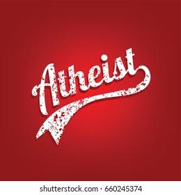 grungy atheist retro varsity theme tag vector art