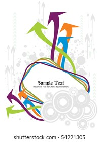 grungy background with circle, colorful arrows pattern banner
