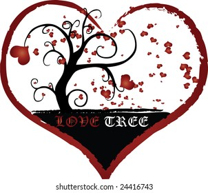 A grungy black tree with small hearts floating around it enclosed within a large red heart and a LOVE TREE caption