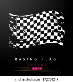 Grungy black and white racing flag