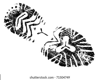 Grungy BootPrint - Highly detailed vector of a mountain boot- transparent vector so it can be overlaid onto other graphic elements