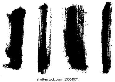 Grungy brush strokes set