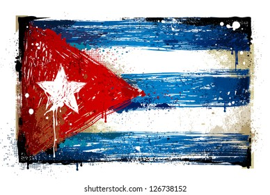 Grungy Cuban flag. EPS 8 vector illustration.