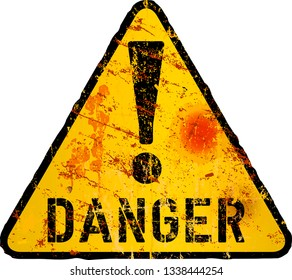 grungy danger sign, computer virus, malware warning ,vector illustration