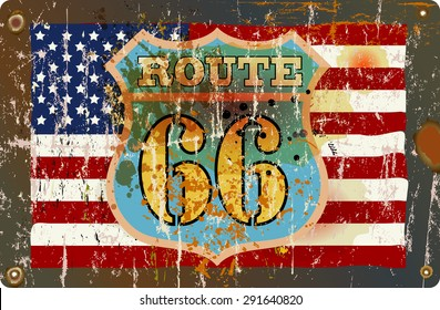 grungy fictional famous route road sign, retro style, vector illustration