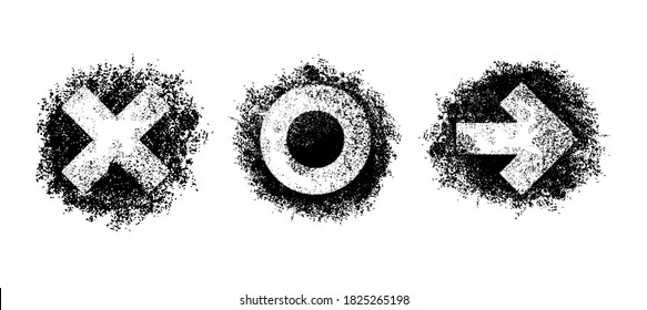 Grungy graffity sprayer elements set - X (cross), 0, (zero or circle) and arrow - black and off white decorative shapes