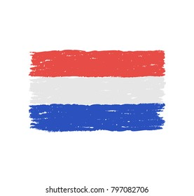 Grungy hand drawn flag of The Netherlands