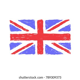 Grungy hand drawn flag of the UK, United Kingdom of Great Britain