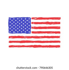 Grungy hand drawn flag of The United States of America