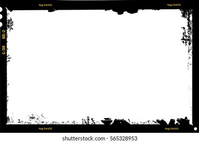 grungy large format film sheet negative, 6 x 9 centimeters, photo frame, vector