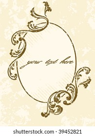 Grungy oval vintage sepia frame (vector); a JPG version is also available